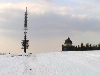 Transmitter with holy shrine on Radhost mountain.